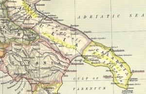 """Mappa Puglia Antica - 300x192 in Südapulien - """"Das Land der Messapier"""""""